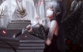 Обои цветы, Девушка, крылья, меч, терновые ветки