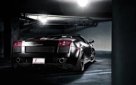 Обои свет, трубы, чёрный, лампа, Lamborghini, парковка, Gallardo