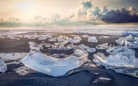 Картинка лед, зима, песок, море, солнце, облака, свет