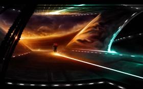Обои закат, огни, фантастика, арт, мотоцикл, поездка, Alberto Vangelista