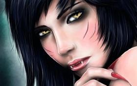 Картинка девушка, лицо, кровь, зубы, когти, league of legends, ahri