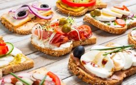 Картинка bacon, sandwiches, ветчина, бекон, сыр, cheese, olives