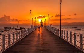 Картинка пляж, пейзаж, закат, люди, океан, пирс