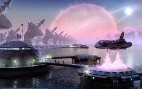 Картинка море, вода, люди, корабль, планета, антенна, станция