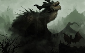 Обои деревья, горы, туман, драконы, арт, дымка, мрачно