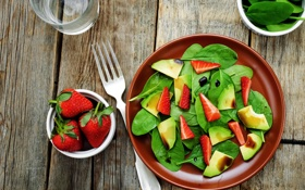 Обои салат, клубника, apple, salad, яблоко, strawberry, ягоды