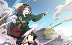 Картинка небо, девушка, пыль, аниме, арт, сумка, танки