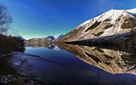 Картинка небо, снег, горы, озеро, отражение