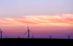 Обои закат, облака, мельница, горизонт, небо, электроветрогенератор