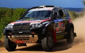 Обои Черный, капот, BMW, Решетка, Фары, Rally, Dakar