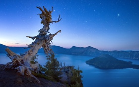 Картинка Oregon, landscape, night sky, Crater Lake, Crater Lake National Park