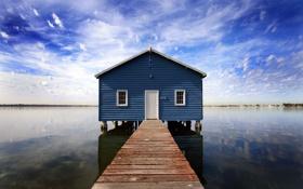 Обои небо, вода, пейзаж, пирс, домик