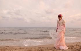 Картинка стиль, ретро, берег, платье