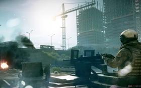 Обои машина, город, дым., Battlefield3