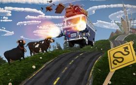 Обои коровы, небо, вещи, турбо, город, дорога, Фургон