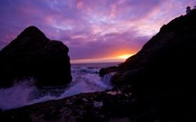 Картинка закат, скалы, волны, чайки, море