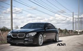 Картинка небо, облака, чёрный, столбы, тюнинг, бмв, BMW
