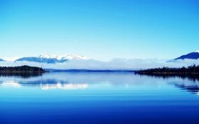 Обои синее, горы, озеро, облако
