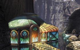 Обои вода, мост, дом, скалы, витраж, myst 3, exile