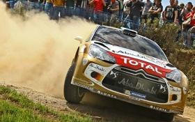Обои Citroen, Ситроен, ралли, DS3, WRC, пыль, зрители