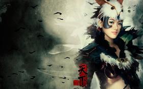 Обои девушка, перья, иероглифы, азиатка, риунок