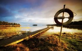 Картинка пейзаж, мост, природа, озеро