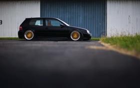 Обои Volkswagen, R32, Black, Golf, Tuning, Low, Dapper