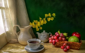 Обои кувшин, желтые, фрукты, натюрморт, окно, чай, стол