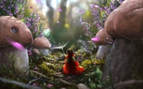 Картинка лес, грибы, лепестки, арт, девочка, тропинка, спиной
