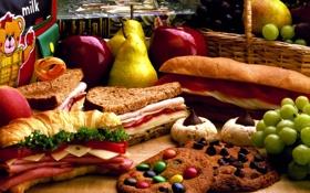 Картинка яблоко, еда, груша, сэндвич