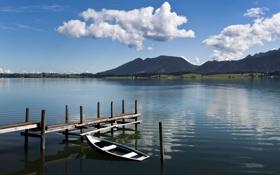 Обои облака, горы, озеро, лодка
