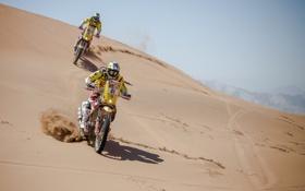 Обои Желтый, Мотоцикл, Жара, два, Rally, Dakar