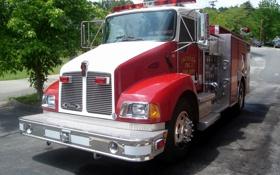 Картинка красная, хром, пожарная, kenworth