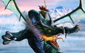 Обои полет, огонь, дракон, человек, воин, арт, всадник