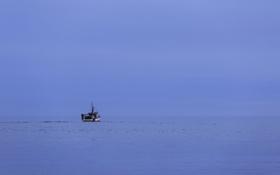 Обои море, небо, синий, лодка, рыбалка, горизонт, бесконечность