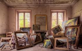 Картинка дерево, окна, номер, картины, солнечный свет