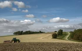 Обои поле, природа, трактор