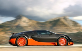 Обои Машина, Бугатти, Bugatti, Вейрон, Движение, Veyron, Car