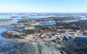 Обои зима, природа, город, озеро, фото, остров, Швеция