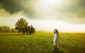 Картинка девушка, поле, настроение