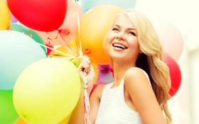 Обои шарики, радость, счастье, воздушные шары, girl, happy, woman