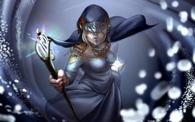 Картинка девушка, свет, украшения, лицо, фантастика, волосы, руки