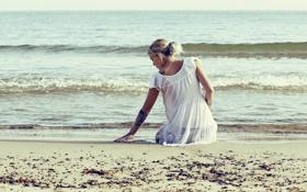 Обои море, девушка, настроение