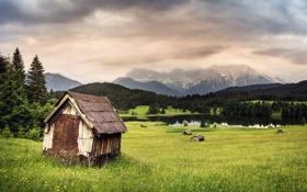 Картинка горы, долина, дом, пейзаж