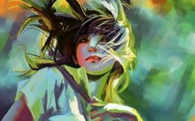 Картинка girl, art, painting, hair