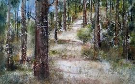 Обои природа, лес, картина