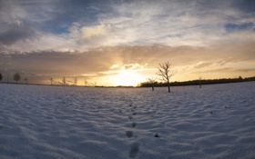 Обои зима, Небо, след