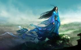 Обои ветер, существо, холм, фэнтези, арт, хвост, рога
