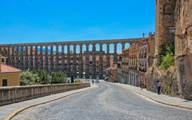 Картинка небо, улица, арка, Испания, виадук