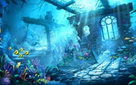 Картинка рыбки, черепаха, руины, подводный мир, под водой, Trine 2
